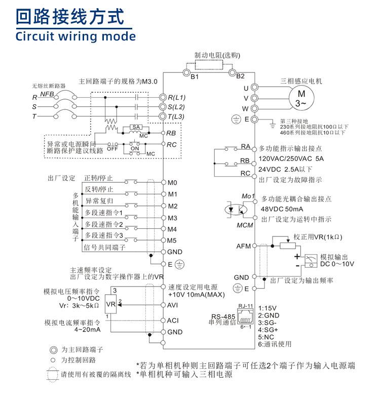 500系列变频器回路接线方式图