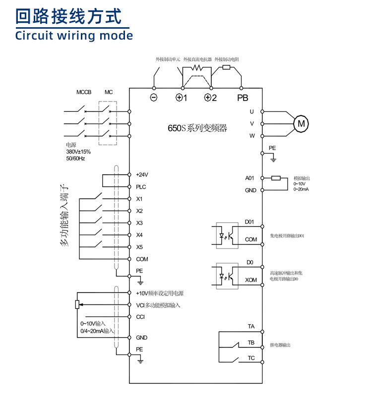 650S系列变频器回路接线方式